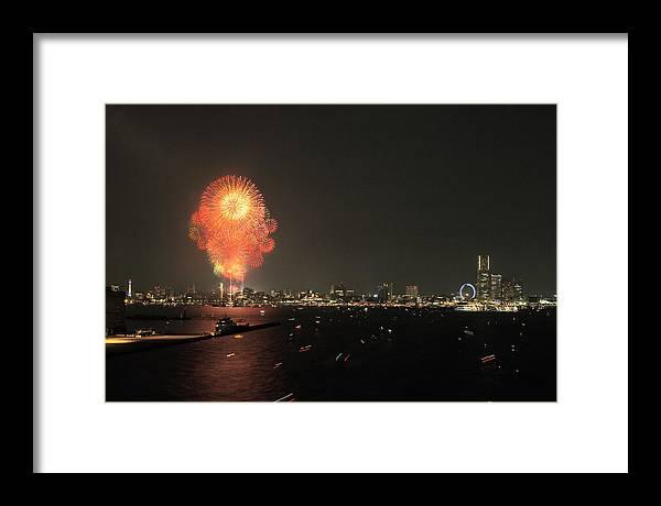 Japan Framed Print featuring the photograph Night In Yokohama T6j013 by Yoshiki Nakamura