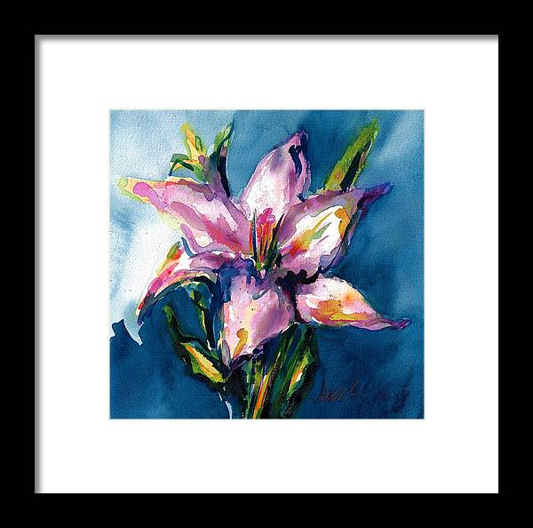 Pink Lily Framed Print featuring the painting Night Lily by Jacki Kellum