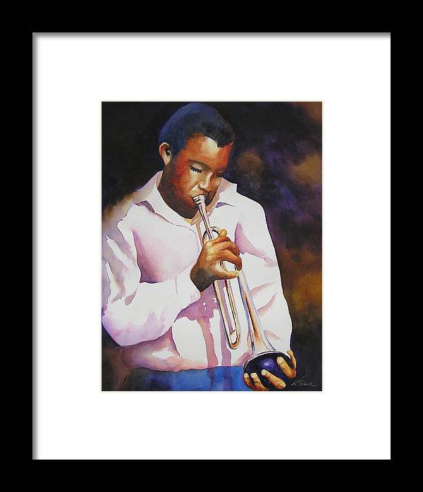 Trumpet Framed Print featuring the painting Night Music by Karen Stark