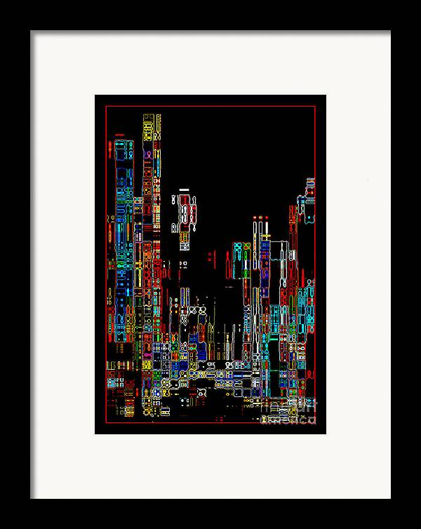 Abstract Framed Print featuring the photograph Night On The Town - Digital Art by Carol Groenen