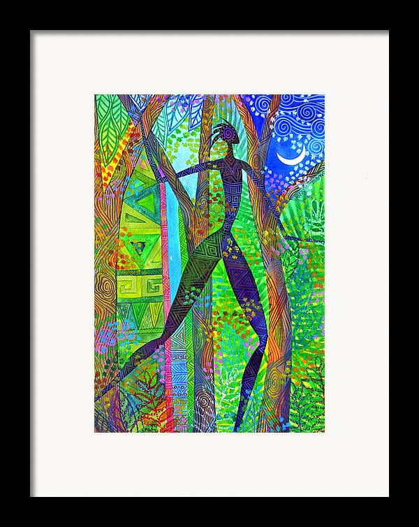 Jungle Tropical Night African Figure Mysterious Framed Print featuring the painting Night Quest by Jennifer Baird