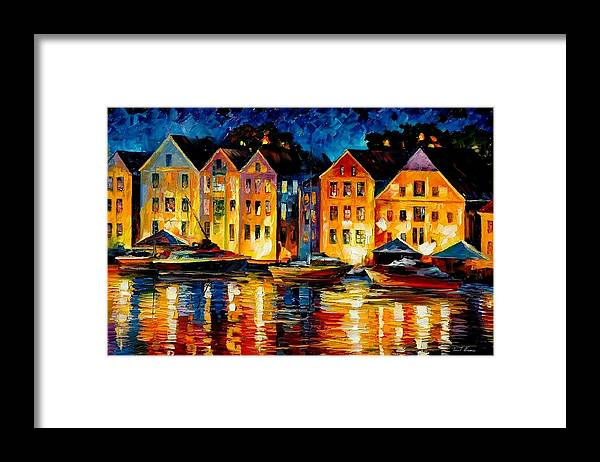 City Framed Print featuring the painting Night Resting Original Oil Painting by Leonid Afremov