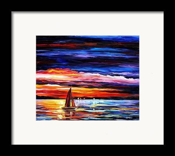 Seascape Framed Print featuring the painting Night Sea by Leonid Afremov