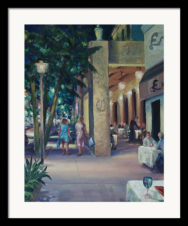 Cityscape Framed Print featuring the painting Night Shoppers by Michael Vires