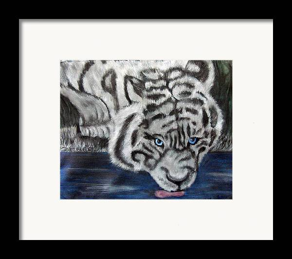 Whiter Tiger Framed Print featuring the painting Night Sipper Metallic Paints by Darlene Green