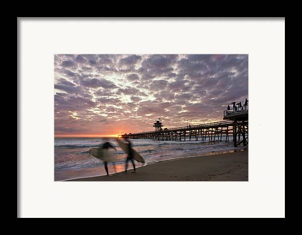 San Clemente Framed Print featuring the photograph Night Surfing by Gary Zuercher