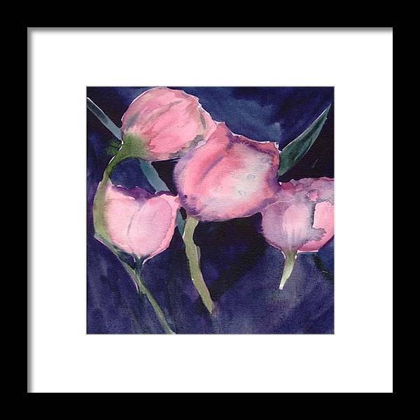 Tulips Framed Print featuring the painting Night Tulips by Janet Doggett