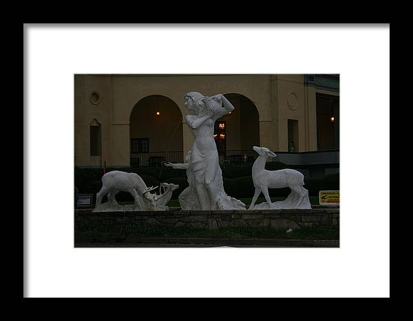 Fountain Framed Print featuring the photograph Night View Of Fountain In Front Of The Arlington Hotel, Arkansas, Ar by Lynn Michelle