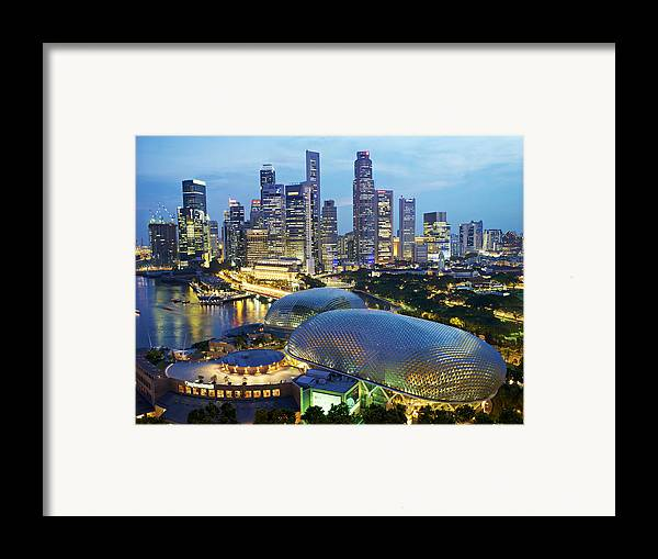 Outdoors Framed Print featuring the photograph Night View Of The Esplanade And Central by Justin Guariglia