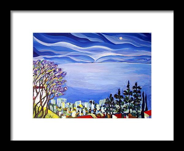 Artwork Framed Print featuring the painting Night View Of Tiberas by Maya Green