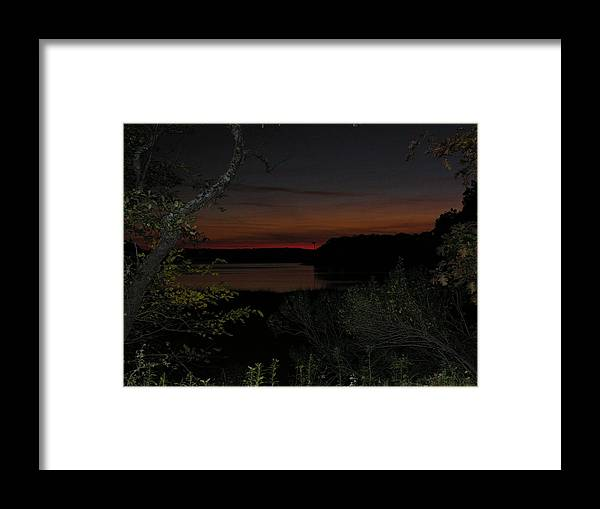 Water Framed Print featuring the photograph Night View Over Pond by Robert Harris