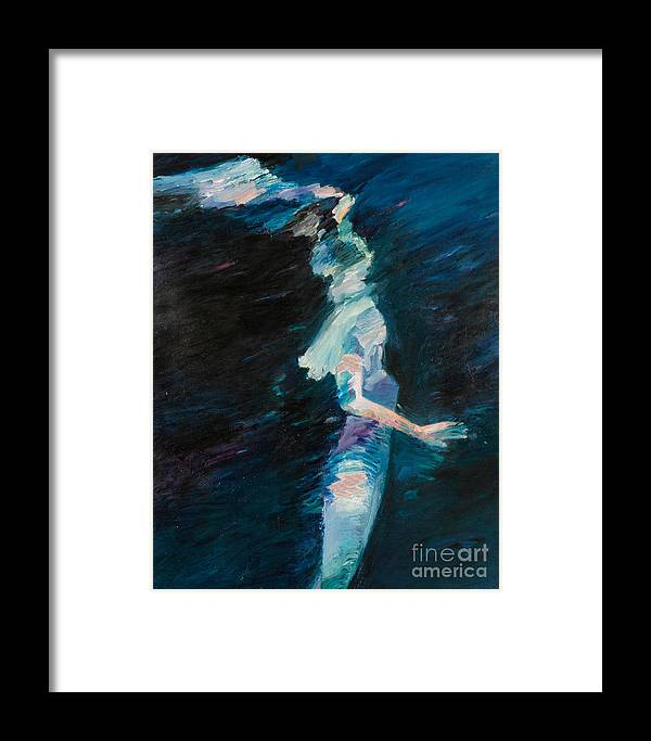 Water Framed Print featuring the painting Night Water by Lisa Baack
