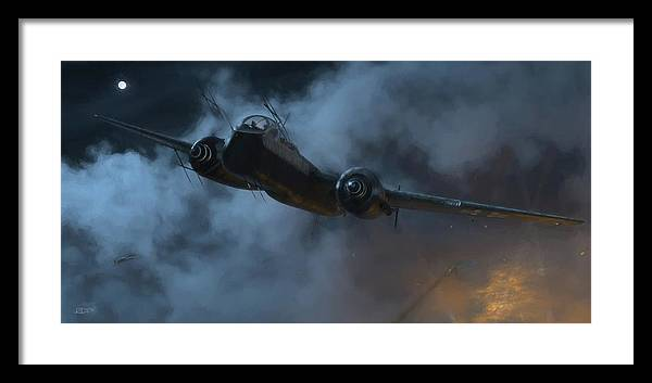 Heinkel Framed Print featuring the digital art Nightfighter - Painterly by Robert Perry