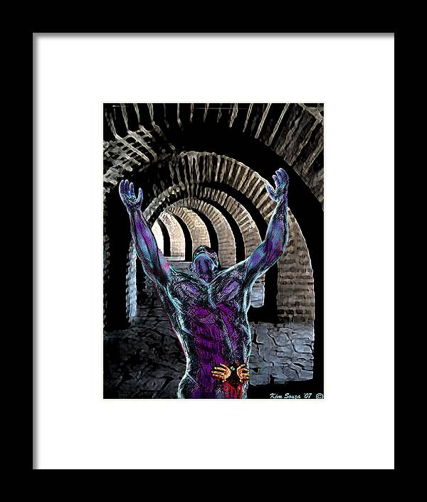 Horror Framed Print featuring the digital art Nightmare Cave by Kim Souza