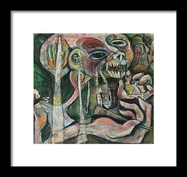 Dark Framed Print featuring the mixed media Nightmare by Michelle Spiziri