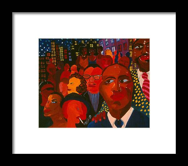 People Of All Kinds Against Night Cityscpe With Sparkeling Stars. Framed Print featuring the painting Nightpeople by Nina Talbot
