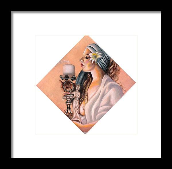 Candle Stick Framed Print featuring the drawing Nights Candle by Scarlett Royal