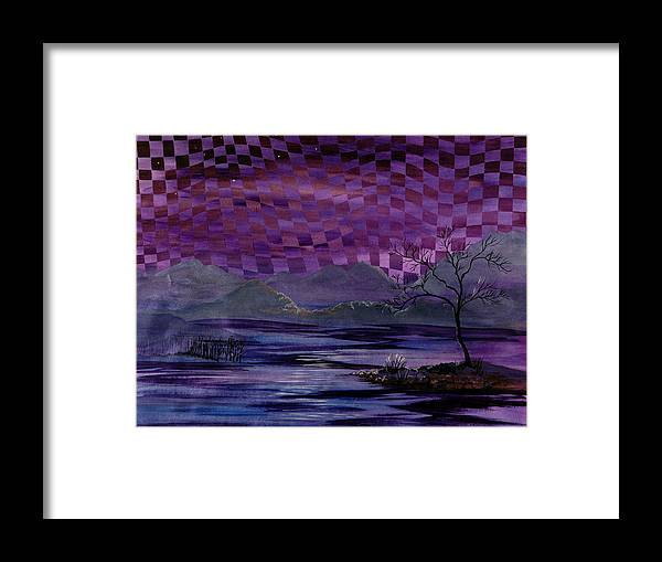 Dusk Framed Print featuring the painting Nightscape by Linda L Doucette