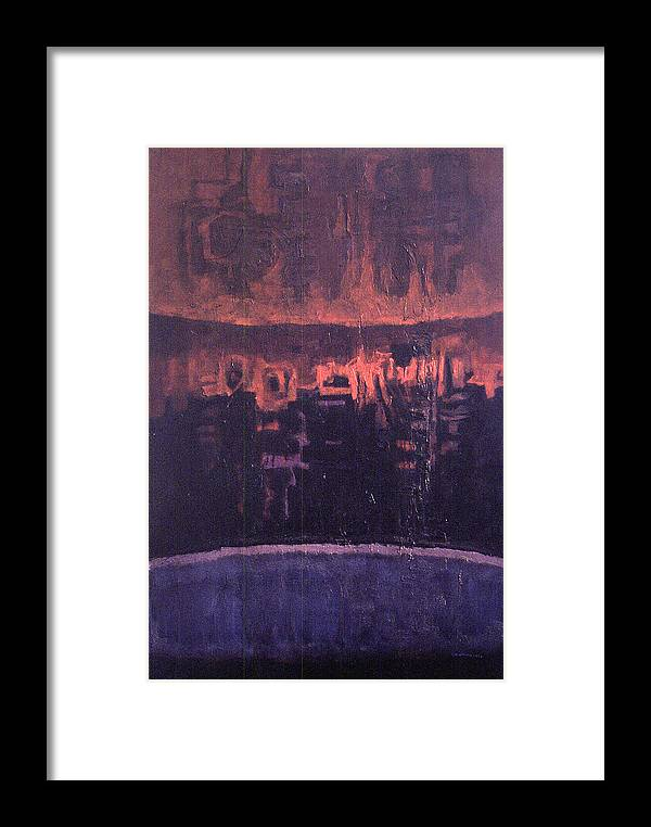 Nightscape Framed Print featuring the painting Nightscape New York by James LeGros