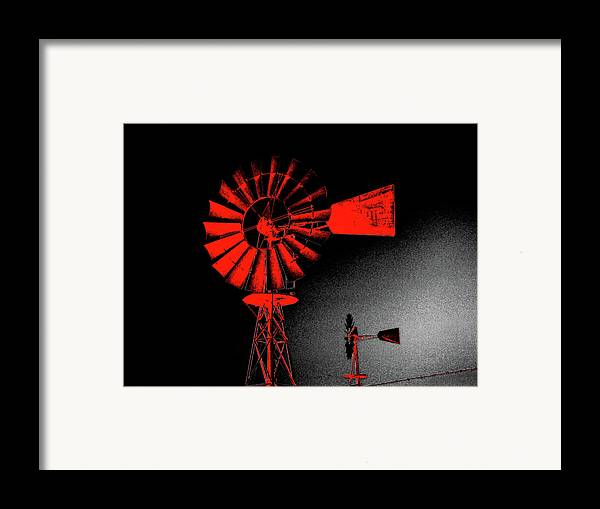 Windmill Framed Print featuring the digital art Nightwatch by Wendy J St Christopher