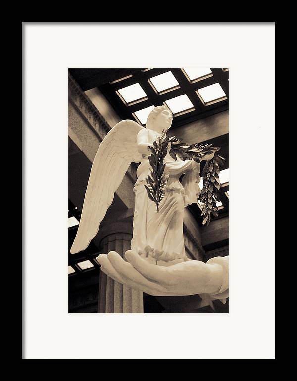 History Framed Print featuring the photograph Nike Goddess Of Victory Sepia by Linda Phelps