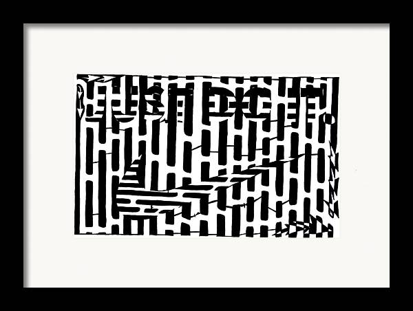 Just Do It Framed Print featuring the drawing Nike Maze by Yonatan Frimer Maze Artist
