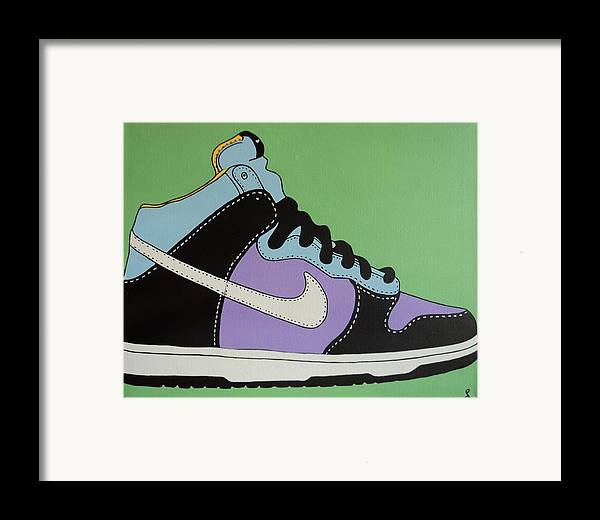 Shoe Framed Print featuring the painting Nike Shoe by Grant Swinney