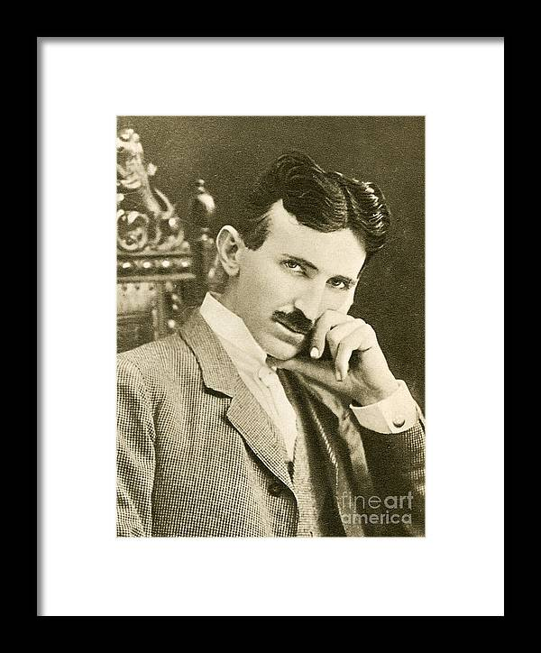 Science Framed Print featuring the photograph Nikola Tesla, Serbian-american Inventor by Photo Researchers