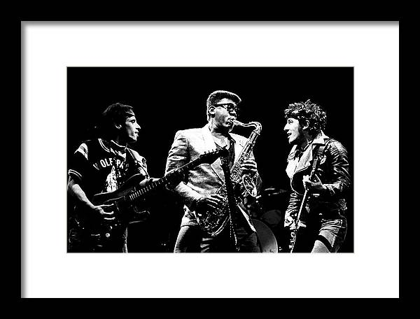 Bruce Springsteen Framed Print featuring the photograph Nils The Big Man And The Boss by Chris Walter