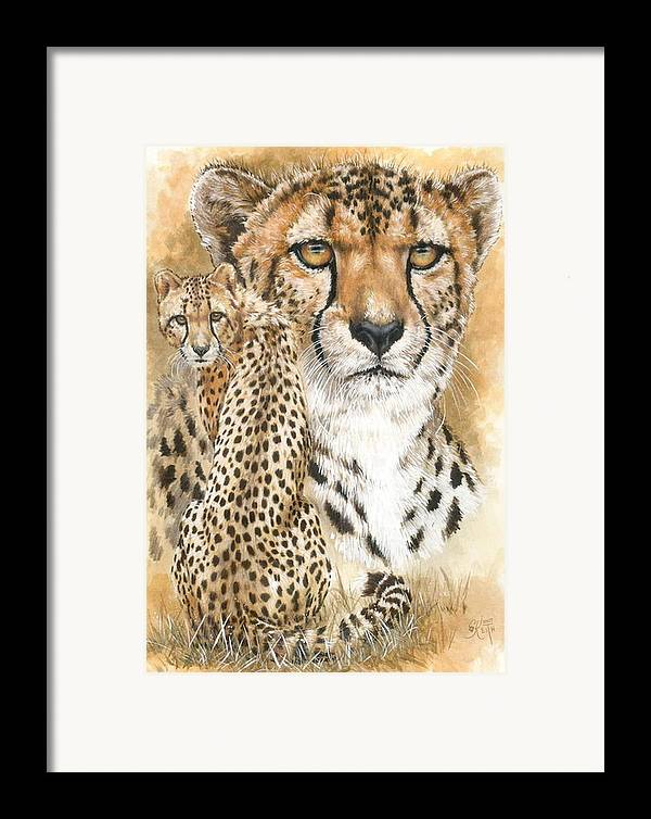 Cheetah Framed Print featuring the mixed media Nimble by Barbara Keith