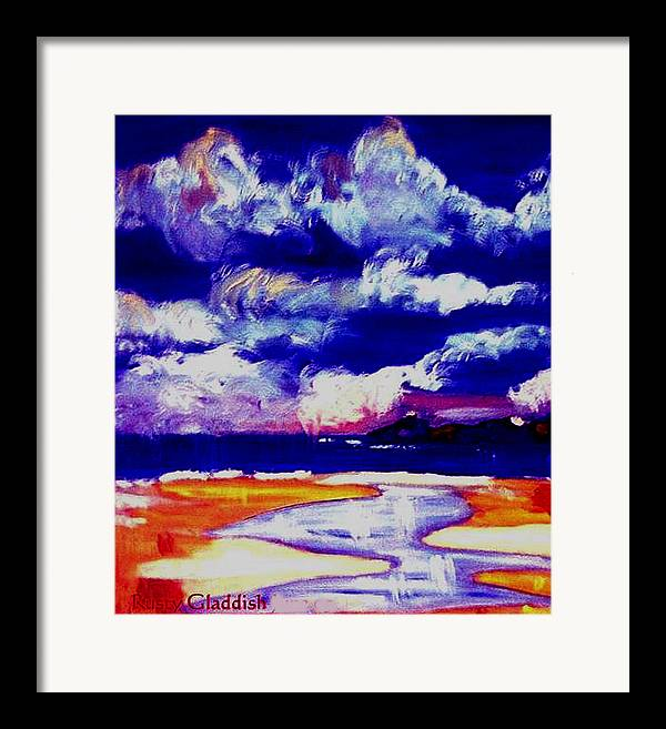 Seascape Framed Print featuring the painting Nimbus Clouds Over Mumbles by Rusty Gladdish