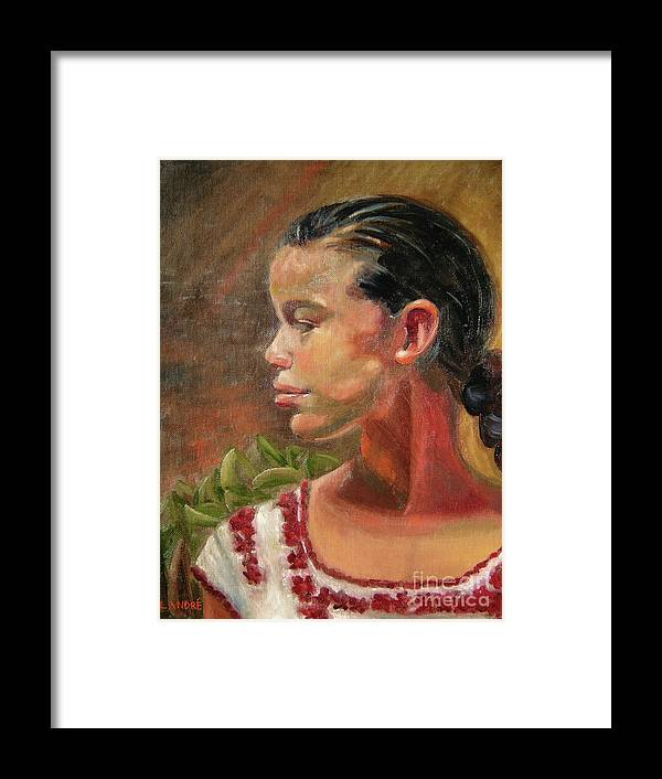 Mexico Framed Print featuring the painting Nina de Trenza by Lilibeth Andre