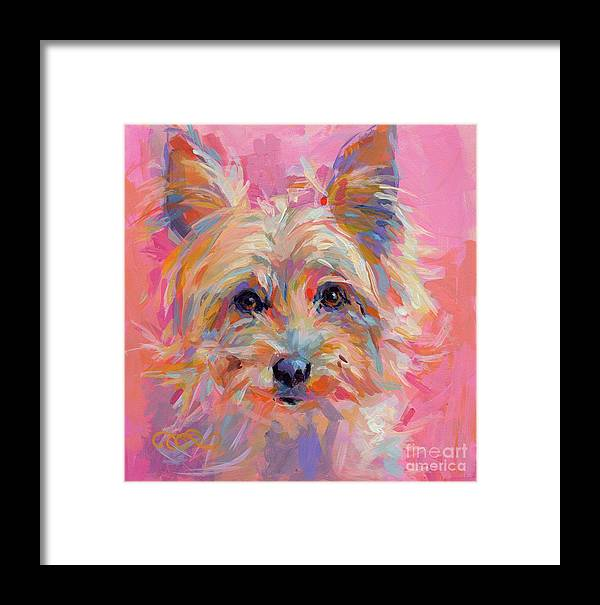 Yorkie Framed Print featuring the painting Nina by Kimberly Santini