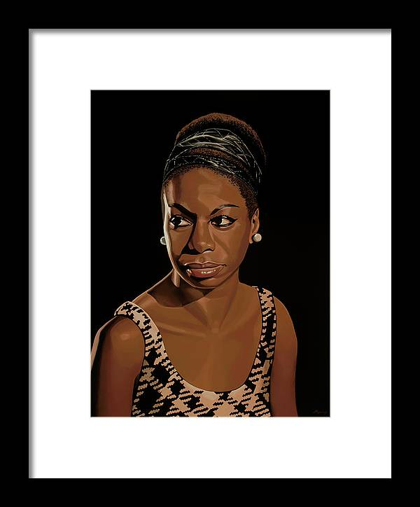 Nina Simone Framed Print featuring the painting Nina Simone Painting 2 by Paul Meijering