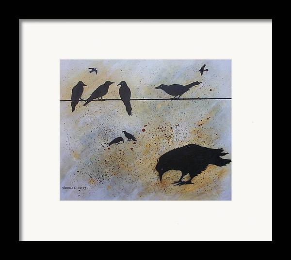 Crows Framed Print featuring the painting Nine Is A Secret by Victoria Heryet