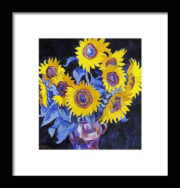 Sunflower Framed Print featuring the painting Nine Sunflowers With Black Background by Vitali Komarov