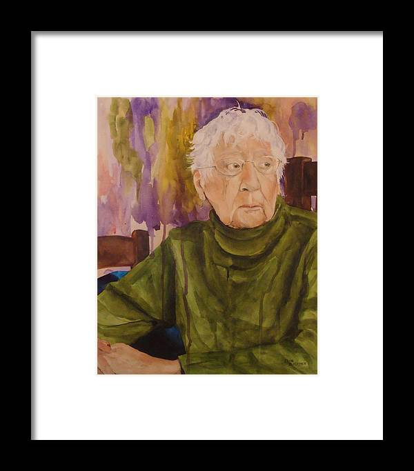 Portrait Framed Print featuring the painting Ninety Years Young by Jean Blackmer