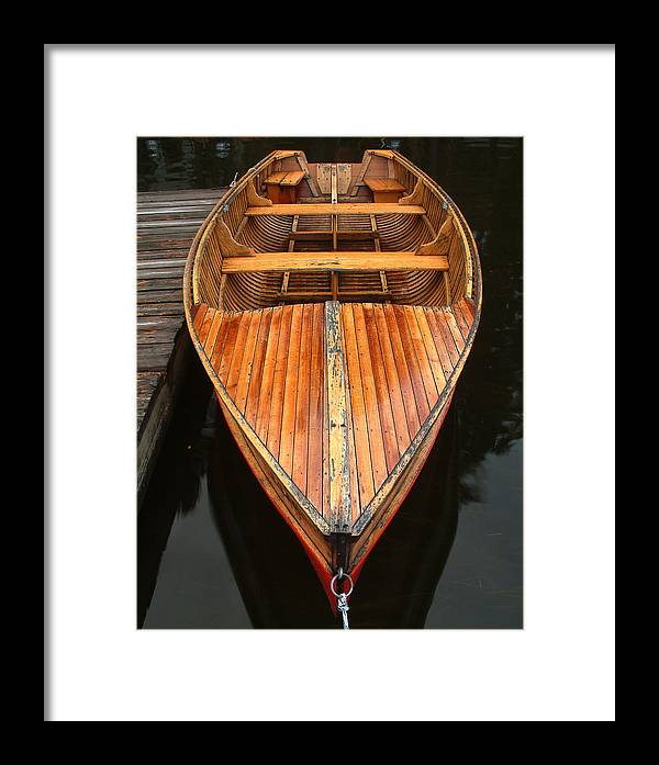 Cedar Strip Boat Framed Print featuring the photograph Nipissing Boat by Linda McRae