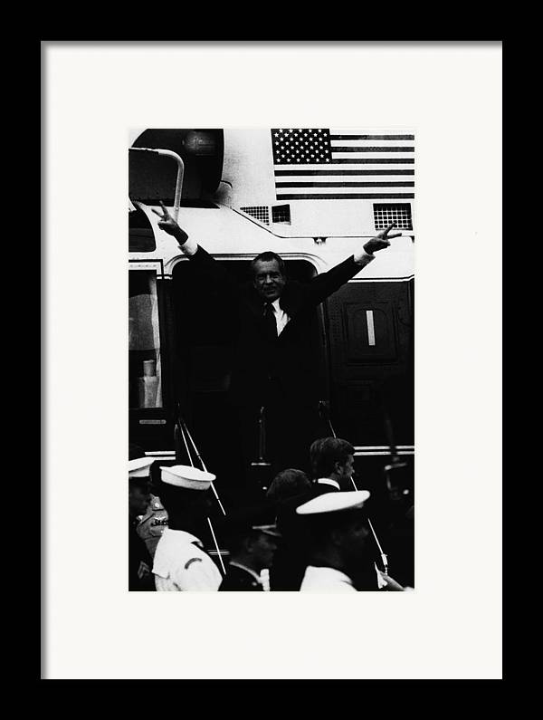 1970s Framed Print featuring the photograph Nixon Presidency.  Former Us President by Everett