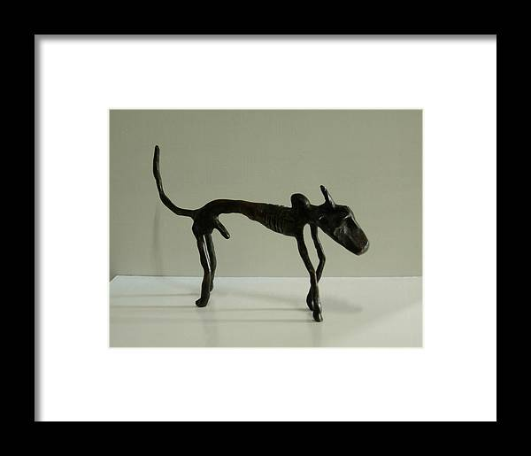 Bull Framed Print featuring the sculpture No. 130 by Vijayan Kannampilly