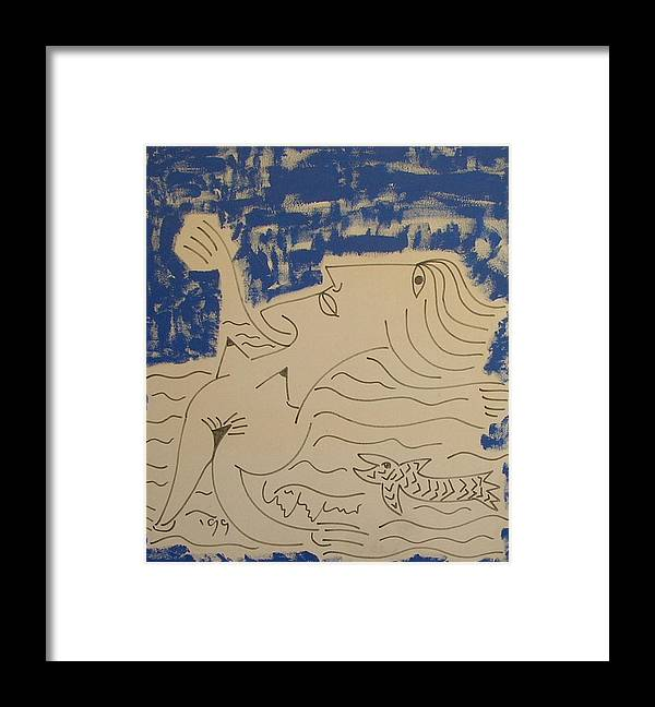 Nude Fish Framed Print featuring the painting No. 238 by Vijayan Kannampilly