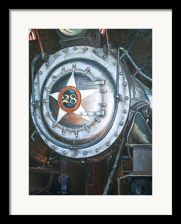 Train Framed Print featuring the painting No. 28 In The Shed by Gary Symington
