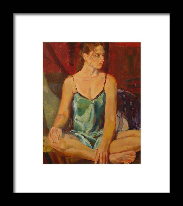 A Girl Framed Print featuring the painting No by Irena Jablonski