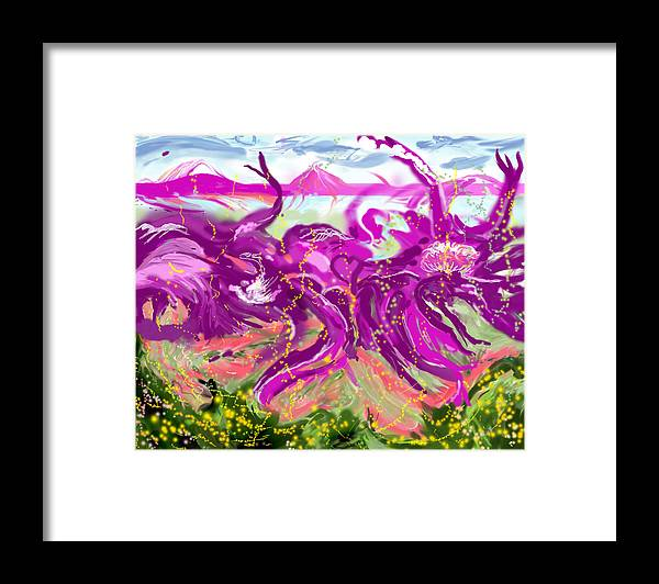 Abstract   Imaginary Seascape Purple Framed Print featuring the digital art No LSD Involved by Suzanne Udell Levinger