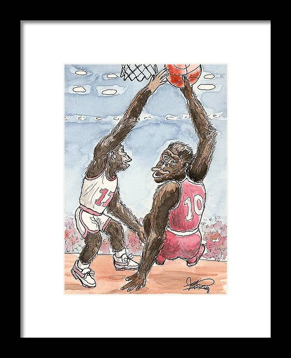 Basketbal Framed Print featuring the painting No No No by George I Perez