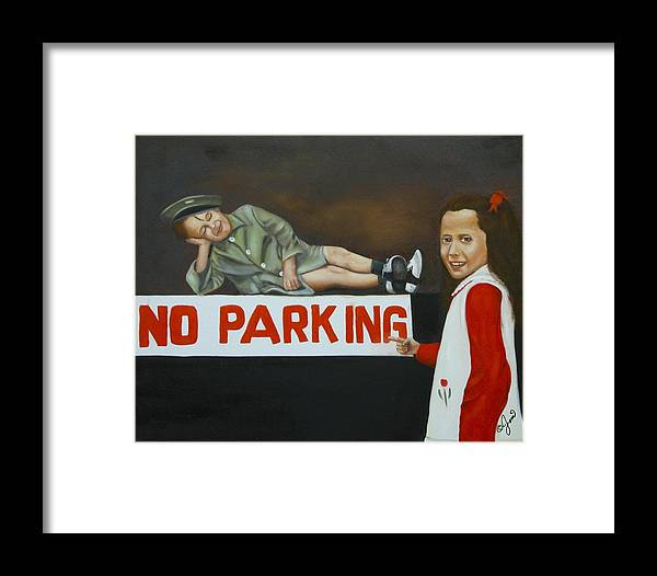 Child Framed Print featuring the painting No Parking by Joni McPherson