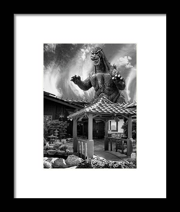 Framed Print featuring the photograph No Reservations Bw Dinosaur Deys by William Dey