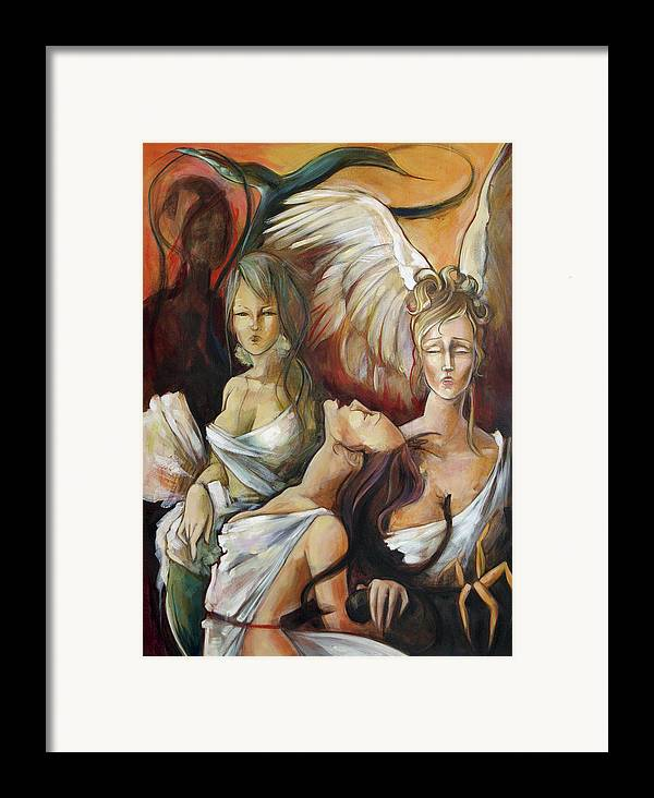 Greek Framed Print featuring the painting No Rest For Hera's Wicked by Jacque Hudson