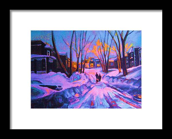 Winterscene Framed Print featuring the painting No Sidewalks by Carole Spandau