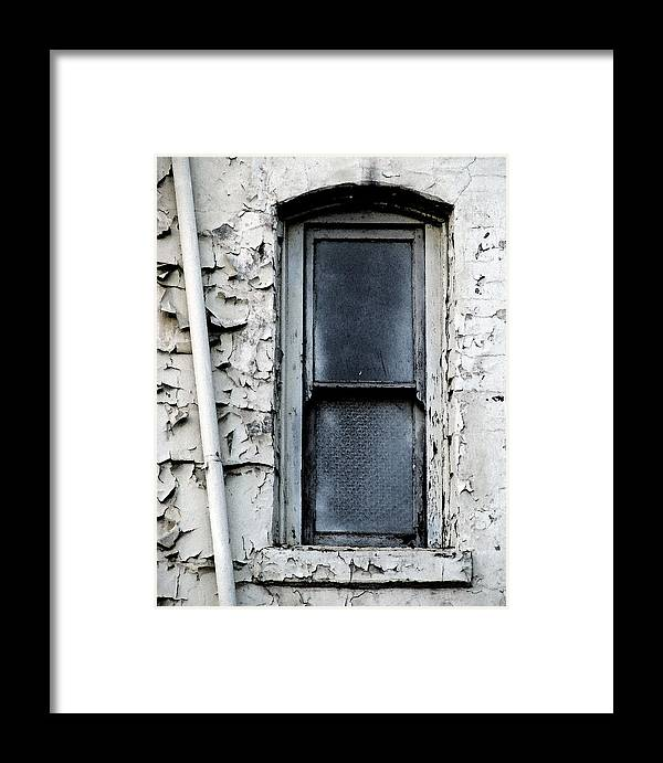 City Window White Glass Pipe Blue Blu Texture Urban Framed Print featuring the photograph No View - Riverside Window by Lawrence Costales